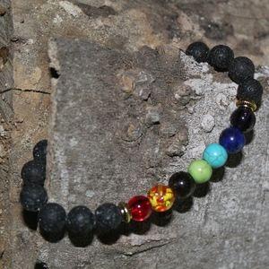 Jewelry - 7 Chakras Healing Volcanic Lava Bracelet